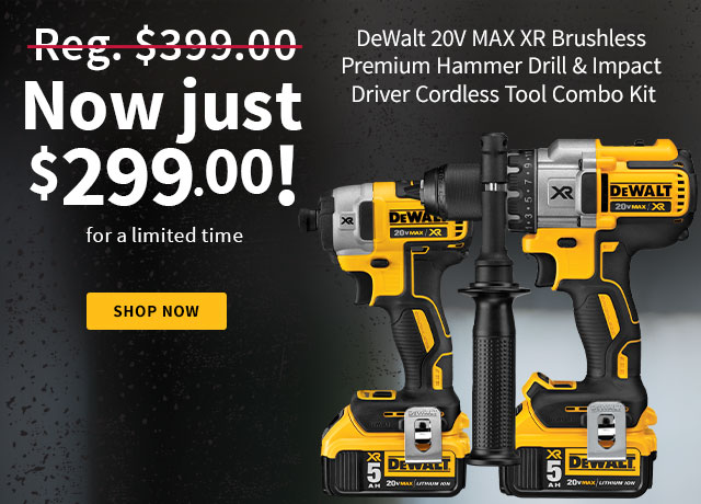 DeWalt 2-Tool 20V MAX XR Lithium-Ion Brushless Premium Hammer Drill & Impact Driver Cordless Tool Combo Kit