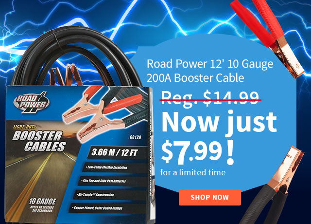 Road Power 12' 10 Gauge 200 Amp Booster Cable