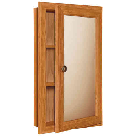 Continental Cabinets Oak 15.75 In. W x 25.75 In. H x 4.75 In. D Single Mirror Surface/Recess Mount Medicine Cabinet