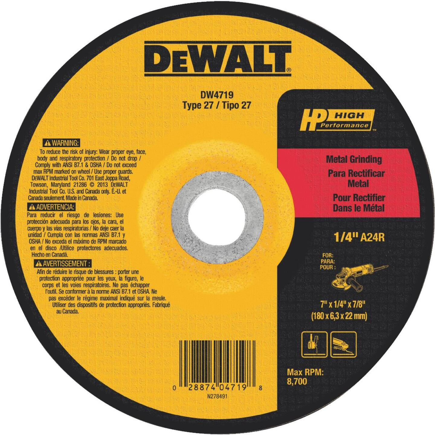 DeWalt HP Type 27 7 In. x 1/4 In. x 7/8 In. Metal Grinding Cut-Off Wheel Image 1
