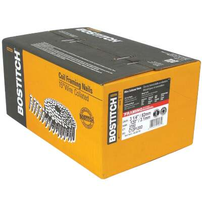 Bostitch 15 Degree Wire Weld Coated Coil Framing Nail, 3-1/4 In. x .120 In. (2700 Ct.)