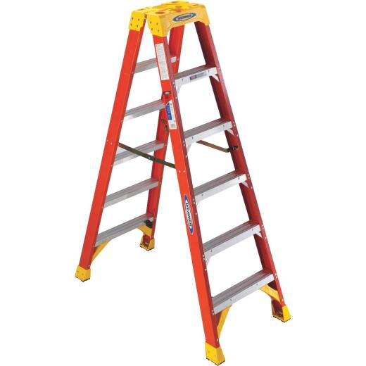 Werner 6 Ft. Fiberglass Twin Step Step Ladder with 300 Lb. Load Capacity Type IA Ladder Rating